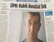 Cenzurovaná ČR, Slovensko se nebojí. SME: Babiš donášal ŠtB